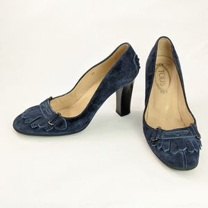 Tod's blue suede leather heeled penny loafers